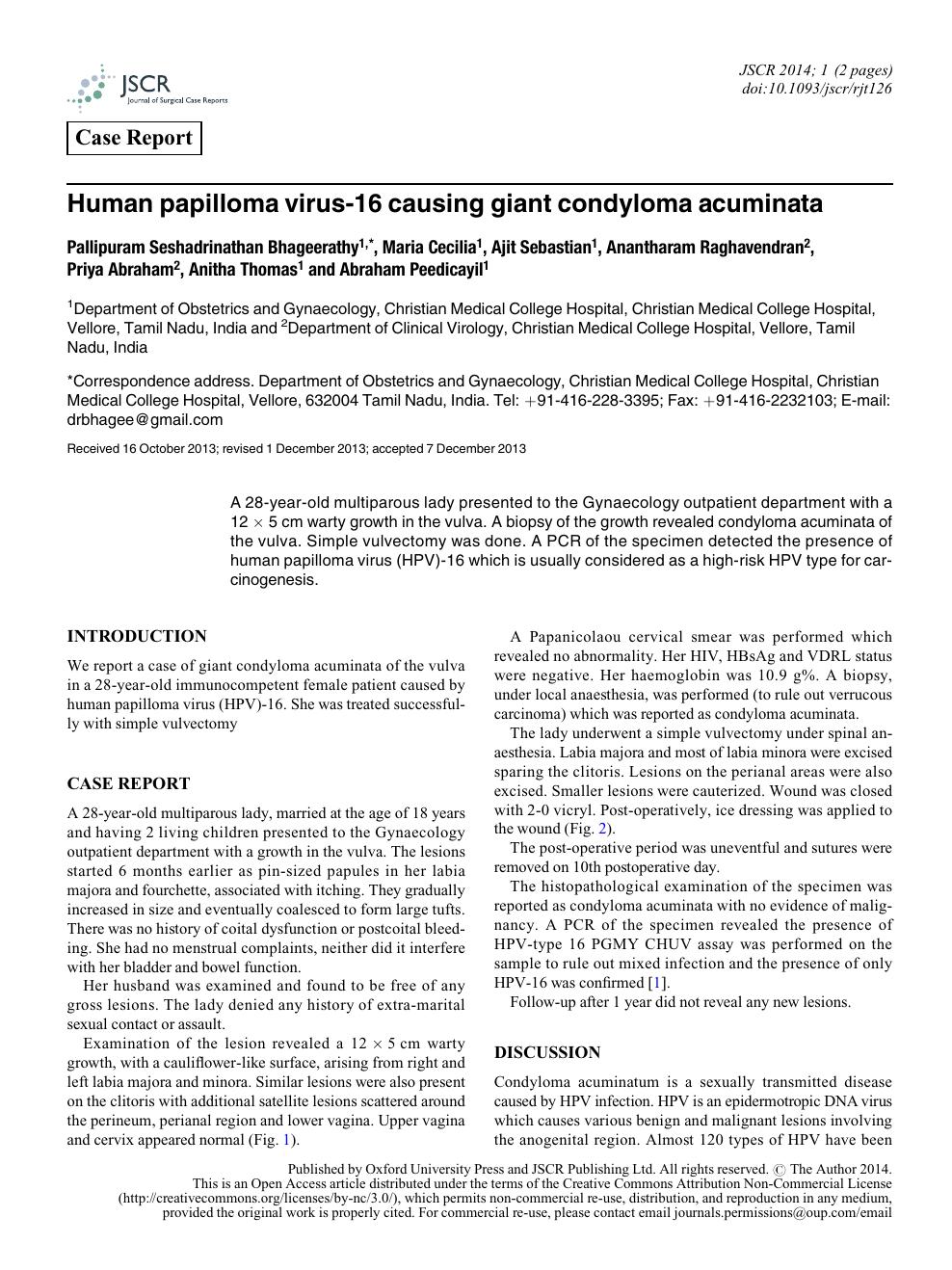 Condyloma acuminata hpv type - Revista Societatii de Medicina Interna