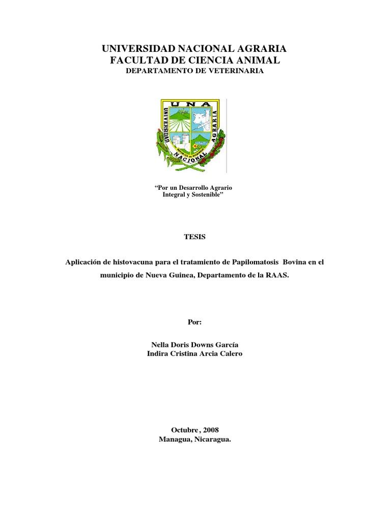 Papilomatosis bovina tesis, Trat Seghnp, Papilomatosis en bovinos